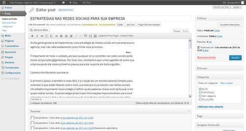 Novidades Versão WordPress web